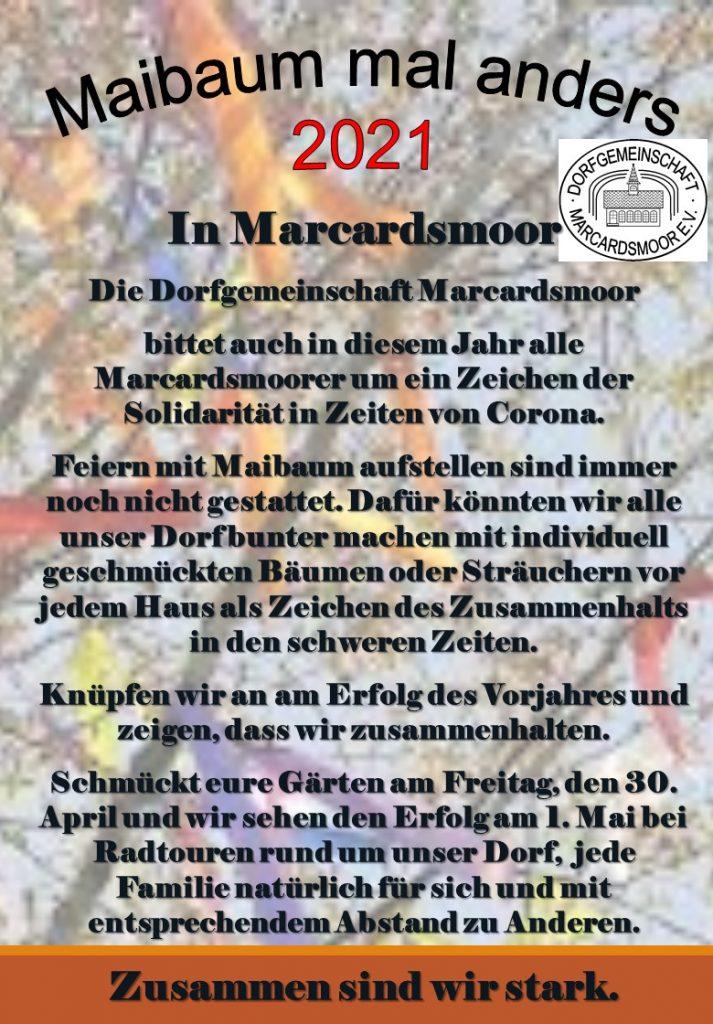 Maibaumaktion 2021 der Dorfgemeinschaft Marcardsmoor